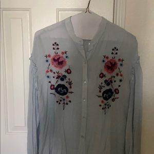 CLEARANCE: Floral embroidered sheer blouse